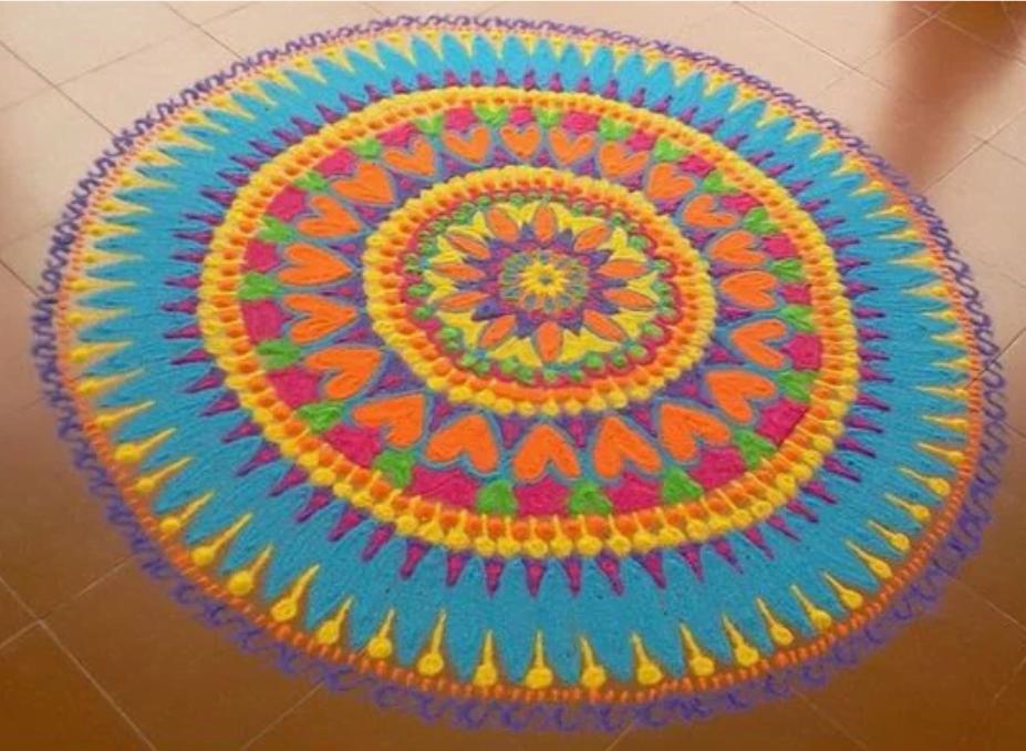 Rangoli designs to make using Holi colors 06