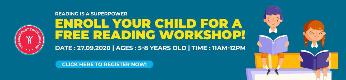 Confident Communicator Free Reading Workshop for Kids in Sept- Banner Ad for TCT