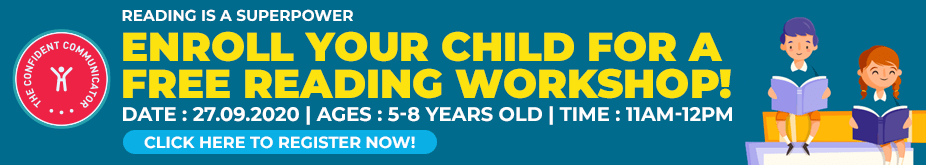 Confident Communicator Free Reading Workshop for Kids in Sept- Banner Ad for TCT